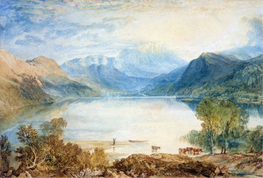 Ullswater from Gobarrow Park, J. M. W. Turner, watercoluor, 1819. Turner loved the Lake District