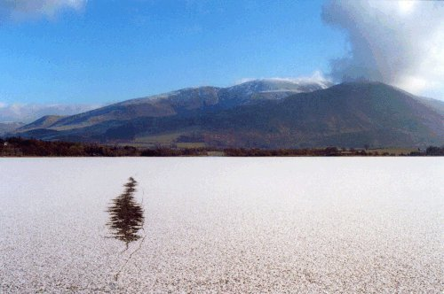 A frozen Bassenthwaite Lake in winter