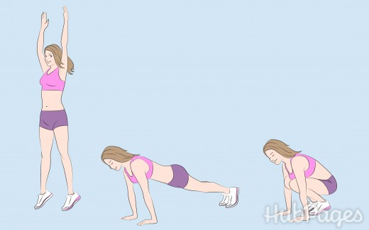 The burpee combines the pushup, plank, squat, and jump.