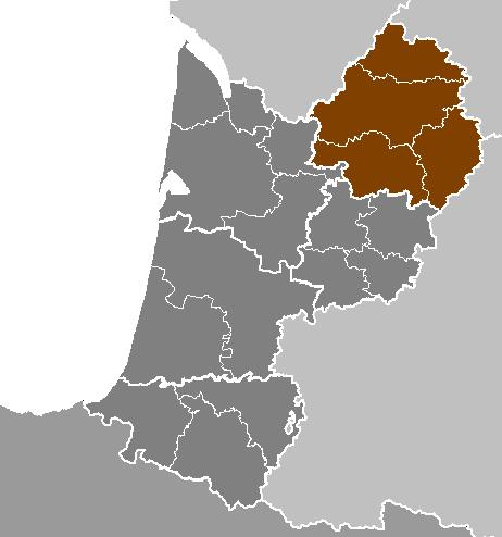 Aquitaine including the Dordogne region in brown