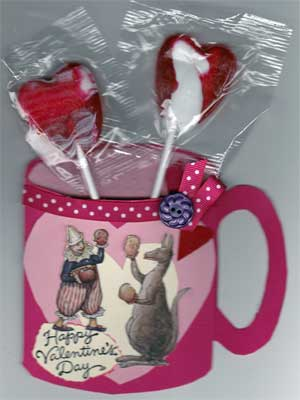 Children's Cup Shaped Valentine Card with Suckers Inside