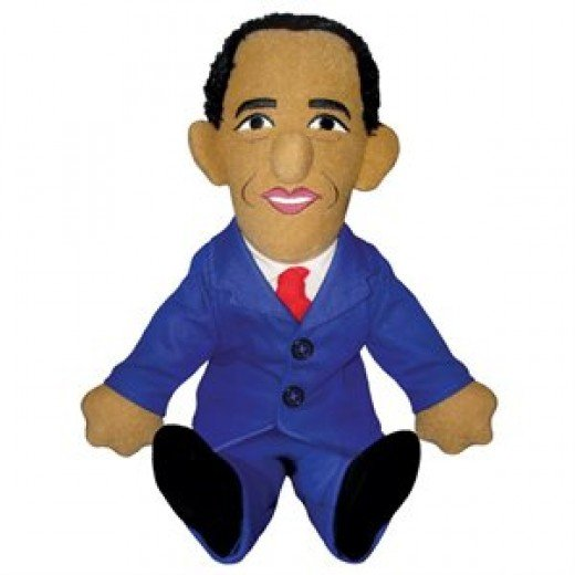 Barach Obama plush toys are popular either to cuddle or to kick, depending upon your political orientation.