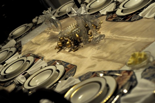 A place setting for Christmas dinner