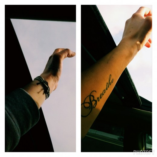 A photo of my left arm before and after my breathe tattoo out the sun roof feeling free. A constant reminder to slow down and live in each and every moment.
