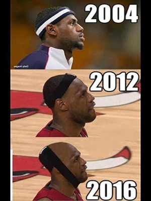 A comparison & estimate by year of LeBron's hairline