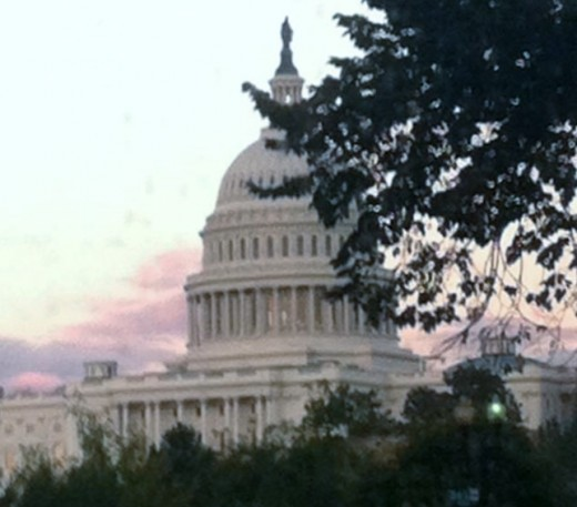 View of the Capitol Building through a Metrobus window.  You can't see this from the train!