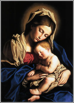 The Madonna with the baby Jesus asleep at her breast