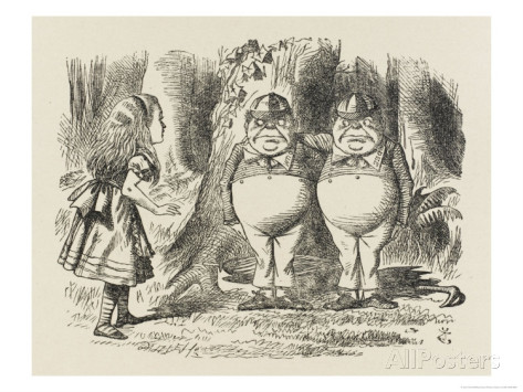 Alice Meets Tweedledum and Tweedledee Print by John Tenniel