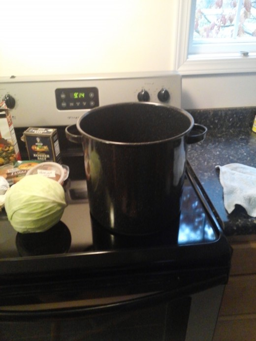 Large pot of water heating up.  Cabbage waiting for a bath.
