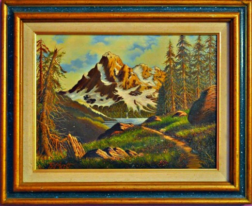 A wonderful Mountain painting by Ray Mikrut, he was an awesome Chicago Landscape Artist and is one of the Nation's best in the art of landscapes.