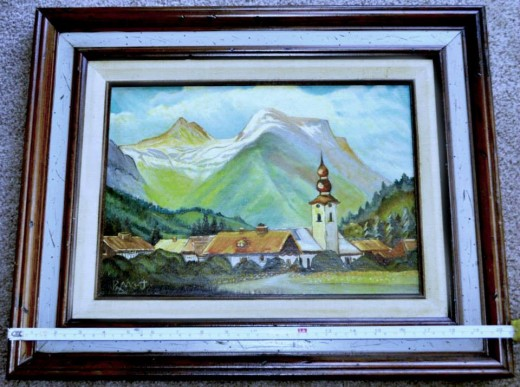 Mountain Village Oil Painting by Ray Mikrut Chicago.