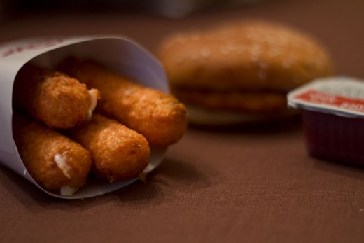 Next time you are out to eat, order mozzarella sticks to go with your chicken sandwich.