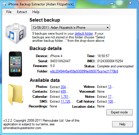 iPhone data recovery using iPhone backup extractor