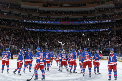 2014 New York Rangers salute their home fans at MSG