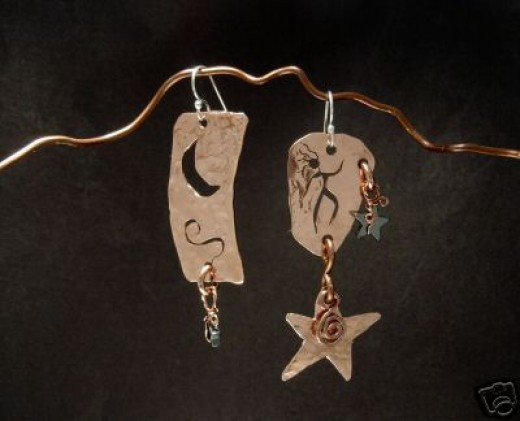 Fabricated copper earrings
