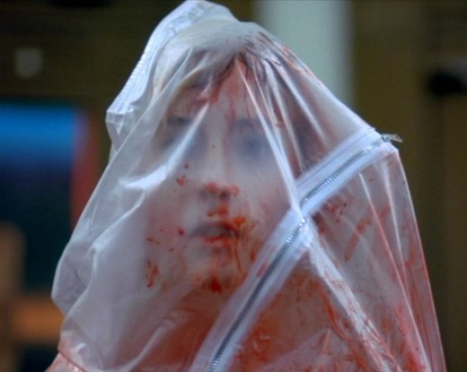 Dream of Freddy and you'll end up in a body bag like Tina Gray (Amanda Wyss) in A Nightmare on Elm Street