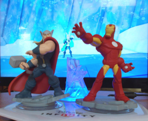 "Thor and Iron Man come to life in ""Disney Infinity: Marvel Superheroes"" and battle Loki."