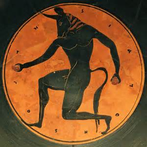 Ancient Greek art depicting the famous minotaur of Crete.