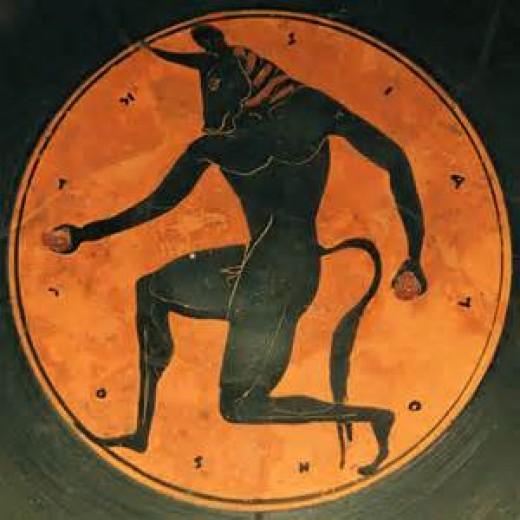 Ancient Greek art depicting the famous minotaur of Crete.