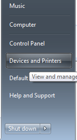 click the devices and printers button on the right hand panel.