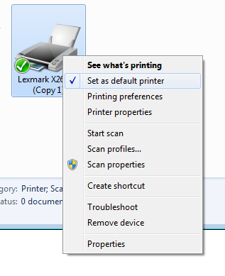 Right click your printer to ensure that the set as default setting is checked, or click printer properties to print a test page.