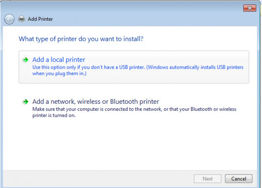 Click Add local printer on the popup window.