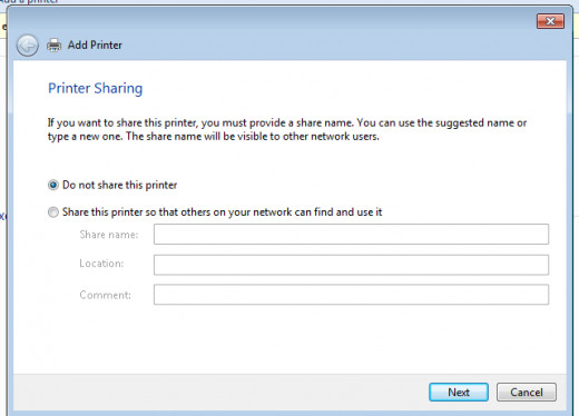Do not share we will cover printer sharing in a later article. It will be linked to this article when finished.