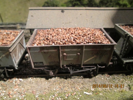 At the Derwent Stone siding, here's one of the 'French' mineral wagons (Bachmann ready-to-run modified