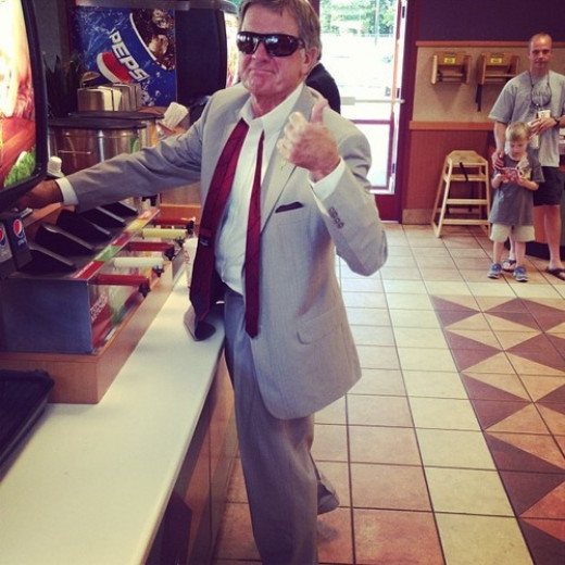 Thumbs down on sunglasses inside Spurrier