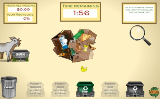 Garbage Dreams, one of their particularly addicting games, is a simulation where you are trying to get the people of Cairo to recycle as much as they can within an 8 month timespan, to earn money and build a recycling plant empire.