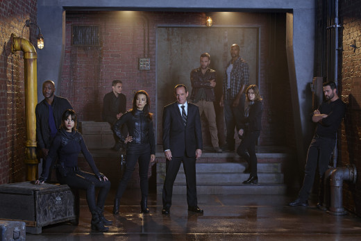"From left to right: Antoine ""Tripp"" Triplett, Skye, Leo Fitz, Melinda May, Director Phillip Coulson, Lance Hunter, Alphonso ""Mack"" Mackenzie, Jemma Simmons, and Grant Ward."