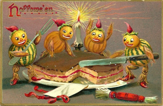 A playful postcard depicting the ritual of the Barmbrack Cake.