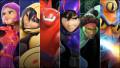 Superheroes and robots in Disney/Marvel's animated movie Big Hero 6