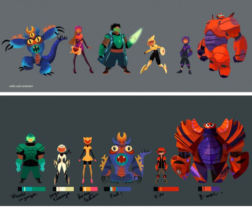 Production designs for the main characters of Big Hero 6.