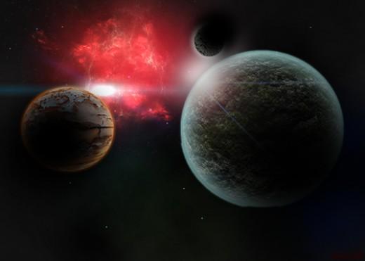 Space Nebula & undiscovered solar system (artist interpretation).