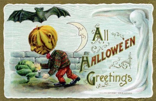 Halloween postcard depicting Victorian Halloween customs.
