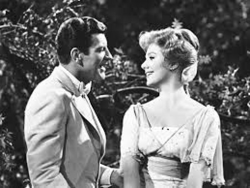 """Robert Preston with Shirley Jones in a scene from """"The Music Man"""""""