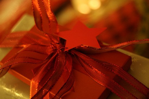 A beautiful red present with star and bow