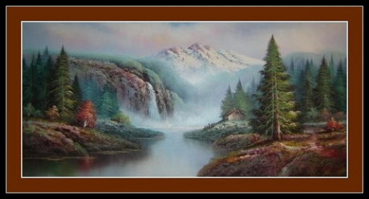 This is a picture of an oil painting that dawns my living room wall in Canada