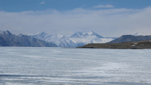 Frozen Pangong Tso, Between India and China
