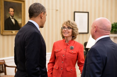"President Barack Obama with former Representative Gabrielle ""Gabby"" Giffords and her husband, former NASA astronaut Mark Kelly, in the Oval Office after they testified at a Senate Judiciary Committee hearing on gun violence on 30 January 2013."