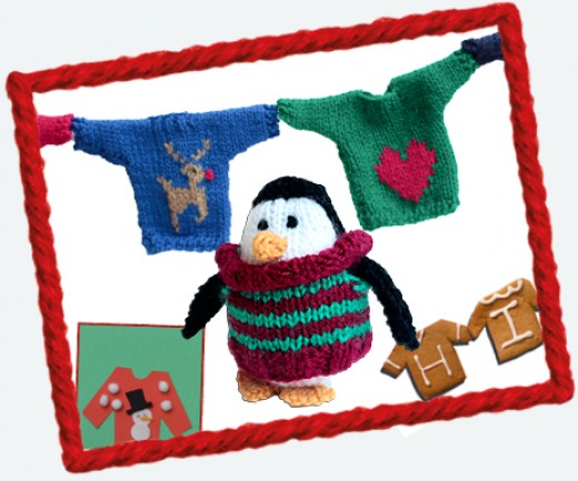 Knitted toys and jumper-shaped biscuits