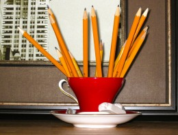 This gorgeous red tea cup makes such a lovely holder for pencils & erasers.