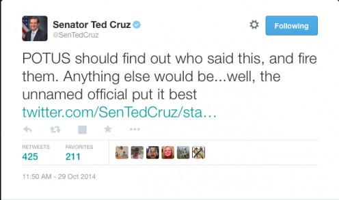 Sen. Ted Cruz demands the firing of WH staff