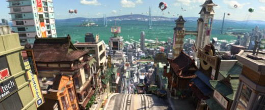 The beautiful city of San Fransokyo, created for Disney's animated movie Big Hero 6