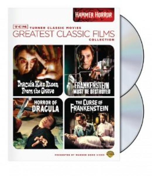 """4 film collection from the """"TCM Greatest Classic Film Collection"""" series featuring the first Frankenstein and Dracula films as well as a sequel to each from their long running franchises. Priced at around $10."""