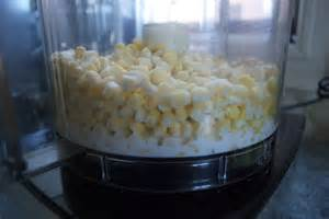 Blend 1 cup corn kernels and 1 cup of milk