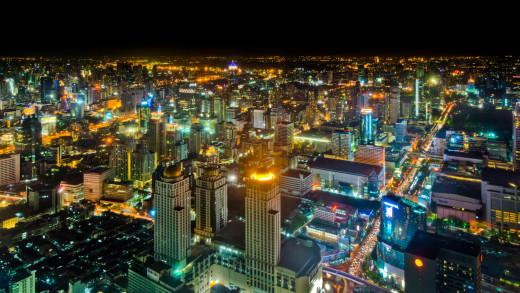 The Bangkok skyline at nighttime.
