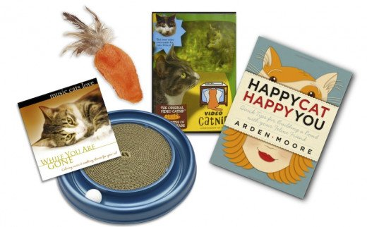 Shown Above: Music Cats Love: While You Are Gone (CD), Bergan Turbo Scratcher Cat Toy (Asst. Colors), Kong Feather Top Carrot Catnip Toy, Video Catnip DVD, Happy Cat Happy You by Arden Moore. Available at