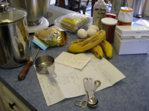 Ingredients for Making Banana Bread